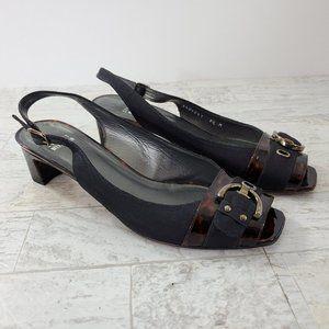 Stuart Weitzman Peep Toe Sling Back Shoes Buckle